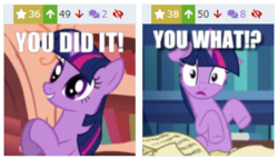 Size: 349x199 | Tagged: alicorn, animated, book, caption, clapping, clapping ponies, confused, cute, derpibooru, duality, edit, edited screencap, eye twitch, female, floppy ears, frown, gif, gif with captions, golden oaks library, grin, image macro, impact font, juxtaposition, library, look before you sleep, looking at you, mare, meme, meme origin, meta, pony, question, reaction image, safe, screencap, self ponidox, sitting, smiling, solo, surprised, the crystal empire, twiabetes, twilight sparkle, twilight sparkle (alicorn), twitch, unicorn, unicorn twilight, wide eyes, you did it
