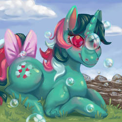 Size: 894x894   Tagged: safe, artist:ztarli, fizzy, pony, twinkle eyed pony, unicorn, g1, bow, bubble, cute, female, fizzybetes, solo, tail bow