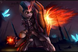 Size: 2560x1707 | Tagged: source needed, safe, artist:apostolllll, oc, oc only, pony, semi-anthro, armor, bipedal, cape, clothes, crystal, fangs, fire, heterochromia, shield, solo