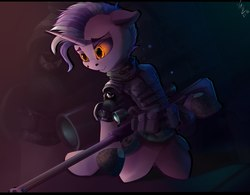 Size: 1920x1500 | Tagged: source needed, safe, artist:apostolllll, oc, oc only, pony, unicorn, semi-anthro, floppy ears, glowing eye, grin, gun, kneeling, military uniform, rifle, smiling, sniper rifle, solo, weapon, zoom layer