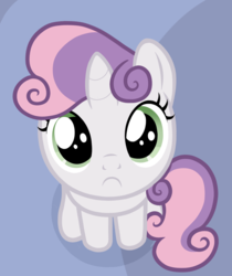 Size: 1060x1260 | Tagged: artist:badumsquish, badumsquish's kitties, edit, female, filly, frown, inverted mouth, looking at you, mare, part of a set, safe, sitting, sweetie belle, unicorn