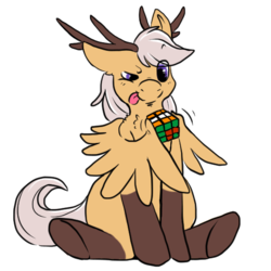 Size: 512x512 | Tagged: antlers, artist:wishwasher, chest fluff, clothes, cute, eye clipping through hair, female, oc, oc:exdia, oc only, original species, pony, rubik's cube, safe, simple background, socks, solo, transparent background, wings
