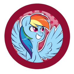 Size: 500x500 | Tagged: abstract background, artist:jessy, bust, button, dots, female, mare, pegasus, pony, rainbow dash, safe, smiling, solo, spread wings, wings