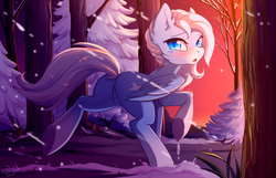 Size: 4800x3100 | Tagged: safe, artist:hakkids2, oc, oc only, oc:icy heart, pegasus, pony, blushing, commission, cute, featureless crotch, female, forest, looking at you, looking back, mare, open mouth, scenery, signature, snow, snowfall, solo, tree, tree branch, underhoof, winter, ych result