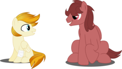 Size: 9588x5445 | Tagged: safe, artist:babyroxasman, oc, oc:quick crash, oc:red thunder, pegasus, pony, absurd resolution, bandage, couple, male, show accurate, simple background, sitting, stallion, transparent background, vector
