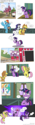 Size: 2250x7893 | Tagged: alicorn, apple, applejack, apple tree, artist:perfectblue97, barn, censored, comic, comic:shadows of the past, cornfield, crying, earth pony, fart, fart noise, fluttershy, food, haystack, pegasus, pony, poster, princess celestia, rainbow dash, rarity, safe, sweet apple acres, tree, twilight sparkle, unicorn, unicorn twilight, unnecessary censorship, well