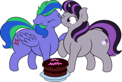 Size: 2780x1878 | Tagged: artist:onlytheponies, birthday, birthday cake, cake, chubby, commission, female, food, kissing, kiss on the cheek, lesbian, magslicity, oc, oc:felicity stars, oc:magna-save, safe, shipping, simple background, transparent background