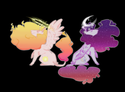 Size: 1280x941 | Tagged: alicorn, artist:coffeisloveislife, black background, colored hooves, curved horn, duo, ethereal mane, eyes closed, hoers, horn, leg fluff, leonine tail, mane of fire, princess celestia, princess luna, royal sisters, safe, signature, simple background, starry mane, wing fluff