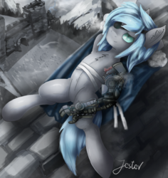 Size: 1135x1200 | Tagged: armpits, artist:jesterpi, castle, clothes, coat, eyepatch, guard, male, male solo, mountain, oc, oc only, pose, relaxing, robotic arm, safe, shadow, snow, solo, solo male, wall