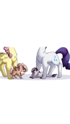 Size: 720x1280 | Tagged: artist:misshoneybunn, colt, dracony, female, filly, fluttershy, head out of frame, hybrid, interspecies offspring, male, mare, next generation, oc, oc:berry blossom, oc:geo stone, offspring, parent:big macintosh, parent:fluttershy, parent:rarity, parents:fluttermac, parent:spike, parents:sparity, pegasus, pony, rarity, safe, simple background, story included, unicorn, white background