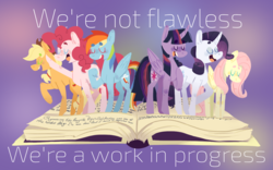 Size: 1280x800 | Tagged: alicorn, applejack, artist:toksinblack, beanbrows, eyebrows, eyes closed, fame and misfortune, flawless, fluttershy, lyrics, mane six, open mouth, pinkie pie, pony, rainbow dash, rarity, safe, scene interpretation, text, twilight sparkle, twilight sparkle (alicorn), we're not flawless