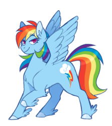 Size: 559x626 | Tagged: artist:biskyfresh, cutie mark, female, looking at you, mare, part of a set, pegasus, pony, rainbow dash, raised hoof, safe, simple background, smiling, solo, spread wings, unshorn fetlocks, white background, wings