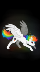 Size: 720x1280 | Tagged: alternate color palette, artist:misshoneybunn, black background, cutie mark, female, looking at you, mane of fire, mare, pegasus, pony, rainbow dash, safe, simple background, solo, spread wings, super rainbow dash, white coat, wings