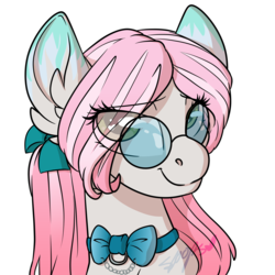 Size: 2000x2000 | Tagged: safe, artist:spoopygander, oc, oc only, earth pony, pony, bow, bowtie, cute, ear fluff, eye clipping through hair, eyelashes, female, glasses, looking at you, looking up, mare, markings, multicolored hair, outline, smiling, solo