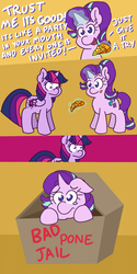 Size: 960x1920 | Tagged: safe, artist:threetwotwo32232, starlight glimmer, twilight sparkle, alicorn, pony, unicorn, box, comic, dialogue, food, gay baby jail, glowing horn, pineapple, pineapple pizza, pizza, pony in a box, punishment, pure unfiltered evil, teary eyes, that pony sure does love pineapple pizza, they're just so cheesy, twilight sparkle (alicorn)