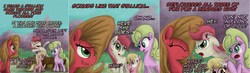 Size: 2752x800 | Tagged: safe, artist:hewison, daisy, flower wishes, lily, lily valley, roseluck, oc, oc:pun, pony, ask pun, ask, flower trio, pun