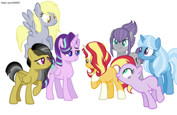 Size: 2056x1344 | Tagged: safe, artist:the-75th-hunger-game, daring do, derpy hooves, maud pie, starlight glimmer, sunset shimmer, trixie, alicorn, earth pony, pegasus, pony, unicorn, alicornified, alternate hairstyle, alternate universe, blaze (coat marking), colored wings, colored wingtips, female, mare, race swap, simple background, socks (coat markings), starlicorn, white background, wip, xk-class end-of-the-world scenario