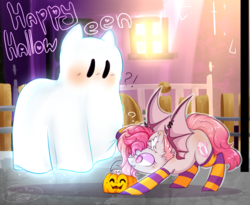 Size: 2070x1700 | Tagged: safe, artist:peneck_cyka_blet, oc, oc only, oc:candy quartz, bat pony, ghost, pony, alleyway, bat pony oc, bedsheet ghost, blushing, clothes, cute, female, fence, fluffy, halloween, happy halloween, holiday, night, piercing, pumpkin bucket, shaved mane, socks, spread wings, stockings, striped socks, text, thigh highs, trick or treat, two toned mane, two toned wings, window, wing piercing, wings