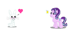 Size: 830x372 | Tagged: safe, artist:theinflater19, angel bunny, starlight glimmer, female, heart, interspecies, male, shipping, soda, starbunny, straight