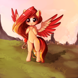 Size: 3200x3200 | Tagged: safe, artist:miokomata, oc, oc only, oc:summer peach, pegasus, pony, bipedal, female, mare, solo, spread wings, wings