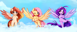 Size: 5200x2200 | Tagged: alicorn, alicorn oc, artist:miokomata, female, fluttershy, freckles, mare, oc, oc:dazzling talents, oc:summer peach, :p, pegasus, pony, safe, silly, tongue out, trio, trio female
