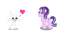 Size: 654x343 | Tagged: safe, artist:theinflater19, angel bunny, starlight glimmer, female, heart, interspecies, male, shipping, starbunny, straight