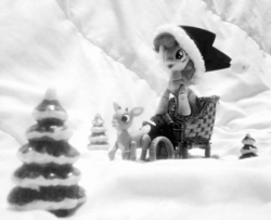 Size: 2361x1920 | Tagged: action figure, artist:kuren247, black and white, christmas, crossover, deer, figurine, gaming miniature, grayscale, happy, hat, holiday, irl, merry christmas, miniature, monochrome, photo, photography, pinkie pie, rankin/bass, reindeer, rudolph the red nosed reindeer, safe, santa hat, sleighride, snow, toy, tree, tribute