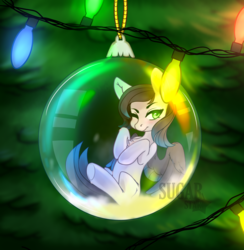 Size: 3906x4000 | Tagged: safe, artist:sugarstar, oc, oc only, oc:ravendancer, pegasus, pony, annoyed, bauble, christmas, christmas lights, christmas tree, digital art, female, high res, holiday, mare, solo, tree, watermark, ych result