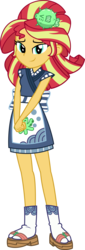 Size: 1600x4700 | Tagged: safe, artist:sketchmcreations, sunset shimmer, eqg summertime shorts, equestria girls, good vibes, clothes, commission, female, looking at you, sandals, simple background, smiling, socks with sandals, sunset sushi, transparent background, uniform, vector