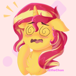 Size: 3000x3000 | Tagged: safe, artist:katakiuchi4u, sunset shimmer, pony, unicorn, equestria girls, blushing, bust, chest fluff, cute, dizzy, female, floppy ears, freckles, mare, open mouth, peppered bacon, portrait, raised hoof, shimmerbetes, solo, swirly eyes, wavy mouth