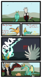 Size: 1592x2935 | Tagged: artist:omegapex, barely pony related, beak, bird, comic, cooked, dialogue, dragon, dragon wings, electricity, food, griffon, horns, leonine tail, lightning, oc, oc:attono, oc:mahlra, oc only, overkill, safe, scared, sharp teeth, surprised, teeth, wings