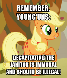 Size: 370x430 | Tagged: applejack, captain obvious, caption, cropped, edit, edited screencap, image macro, mouthpiece, safe, screencap, wat
