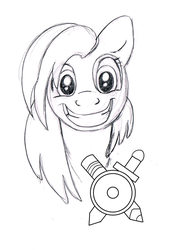 Size: 731x1071 | Tagged: artist:carnivorouscaribou, bust, earth pony, female, mare, monochrome, oc, oc:rough sketch (carnivorouscaribou), pony, portrait, safe, solo, traditional art
