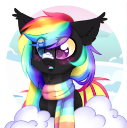 Size: 1188x1197 | Tagged: artist:cloud-fly, bat pony, clothes, female, mare, oc, oc:happy pills, pony, safe, scarf, snow, solo