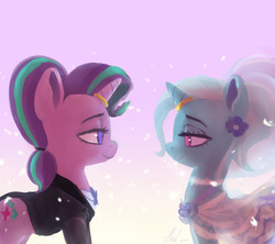 Size: 1280x1135   Tagged: safe, artist:raikoh, starlight glimmer, trixie, pony, unicorn, alternate hairstyle, clothes, cutie mark, dress, female, gown, horn, horn ring, jacket, lesbian, lidded eyes, lineless, looking at each other, mare, marriage, ring, shipping, startrix, tuxedo, wedding, wedding dress, wedding gown, wedding ring