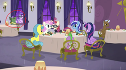 Size: 1364x764 | Tagged: safe, edit, screencap, lemon hearts, minuette, moondancer, spike, starlight glimmer, twilight sparkle, twinkleshine, alicorn, pony, unicorn, amending fences, chair, menu, restaurant, self ponidox, starlight glimmer's time traveling snarkventure, starlight says bravo, table, twilight sparkle (alicorn)