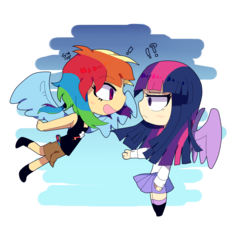 Size: 1500x1400 | Tagged: artist:marian9, exclamation point, female, human, humanized, interrobang, lesbian, question mark, rainbow dash, safe, shipping, simple background, transparent background, twidash, twilight sparkle, winged humanization, wings