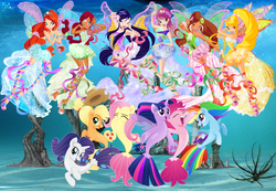 Size: 2279x1577 | Tagged: aisha, alicorn, applejack, armpits, artist:infinitewarlock, artist:user15432, bloom, bloom (winx club), clothes, crossover, fairy, fairy wings, fins, fin wings, flora (winx club), fluttershy, harmonix, hasbro, hasbro studios, layla, mane six, musa, my little pony: the movie, ocean, pinkie pie, rainbow dash, rainbow s.r.l, rarity, safe, sea ponies, seaponified, sea pony, seapony applejack, seapony fluttershy, seapony (g4), seapony pinkie pie, seapony rainbow dash, seapony rarity, seapony twilight, species swap, spoiler:my little pony the movie, stella (winx club), swimming, tecna, twilight sparkle, twilight sparkle (alicorn), under the sea, underwater, water, watershy, wings, winx, winx club