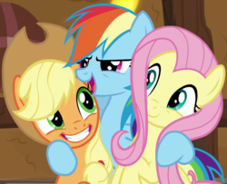 Size: 850x690 | Tagged: applejack, cropped, earth pony, female, fluttershy, pegasus, pony, rainbow dash, rainbow dash gets all the mares, safe, screencap, smiling, trio, yakity-sax