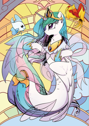 Size: 400x563 | Tagged: angelfish, artist:yukandasama, female, fish, mare, philomena, phoenix, pony, princess celestia, safe, seaponified, seapony celestia, seapony (g4), species swap, spoiler:comic, stained glass