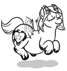 Size: 403x425 | Tagged: safe, artist:jargon scott, oc, oc:snusnu, pony, succubus, succubus pony, chubby, eyes closed, female, fluttering, mare, monochrome, simple background, smiling, solo, white background