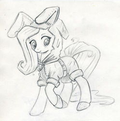 Size: 900x902   Tagged: safe, artist:maytee, fluttershy, bunny ears, clothes, costume, cute, dangerous mission outfit, female, goggles, hoodie, monochrome, shyabetes, sketch, solo, spy, traditional art