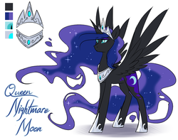 Size: 950x750 | Tagged: safe, artist:its-gloomy, nightmare moon, alicorn, pony, tumblr:ask queen moon, crown, ethereal mane, female, hoof shoes, jewelry, mare, peytral, queen, reference sheet, regalia, simple background, solo, spread wings, starry mane, white background, wings