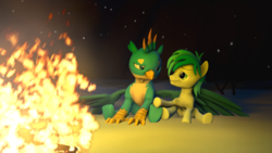 Size: 1920x1080 | Tagged: 3d, artist:hedgehogninja94, fire, gallbar, gallus, gay, griffon, hug, looking at each other, male, night, safe, sandbar, shipping, snow, source filmmaker, winghug