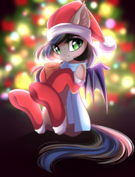 Size: 2553x3333 | Tagged: artist:airiniblock, bat pony, bat pony oc, chocolate, christmas, christmas lights, christmas tree, clothes, commission, cute, ear piercing, female, food, hat, holiday, hot chocolate, jewelry, looking at you, mare, oc, oc:nightglider, oc only, piercing, pony, rcf community, safe, santa hat, scarf, smiling, solo, stockings, thigh highs, tree, wholesome