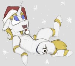 Size: 1216x1075 | Tagged: safe, artist:marsminer, oc, oc only, oc:sanctus, robot, christmas, hat, holiday, male, santa hat, stallion