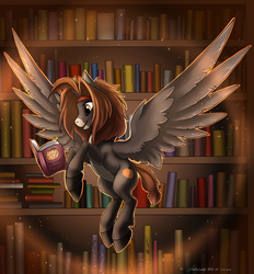 Size: 1522x1638 | Tagged: safe, artist:kotya-ra, oc, oc only, oc:autumn zazush, pegasus, pony, book, bookshelf, solo