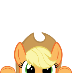Size: 10000x10000 | Tagged: absurd res, applejack, artist:mrkat7214, cute, jackabetes, part of a set, peekaboo, peeking, pony, safe, simple background, solo, soon, transparent background, vector