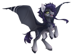Size: 2268x1684 | Tagged: artist:monogy, bat pony, bat pony oc, bat wings, blushing, blush lines, chunky eyelashes, color outline, cute, cute little fangs, fangs, female, green eyes, lightly watermarked, mare, markings, oc, oc:kama, oc only, open mouth, pegasus, pony, purple hair, safe, simple background, smiling, solo, spread wings, teeth, transparent background, unshorn fetlocks, watermark, wings