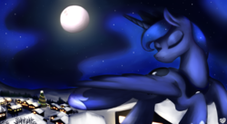 Size: 1970x1080 | Tagged: alicorn, artist:sugar morning, canon, christmas, christmas tree, derpibooru exclusive, eyes closed, female, flying, happy hearth's warming, hearth's warming, hearth's warming eve, holiday, luna's day, mare, merry christmas, moon, night, pony, princess luna, safe, scenery, snow, solo, stars, tree, village, wallpaper, winter, winter solstice